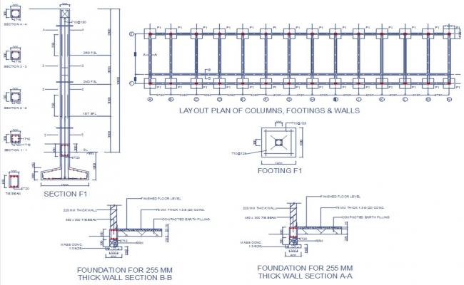 Foundation layout of school building