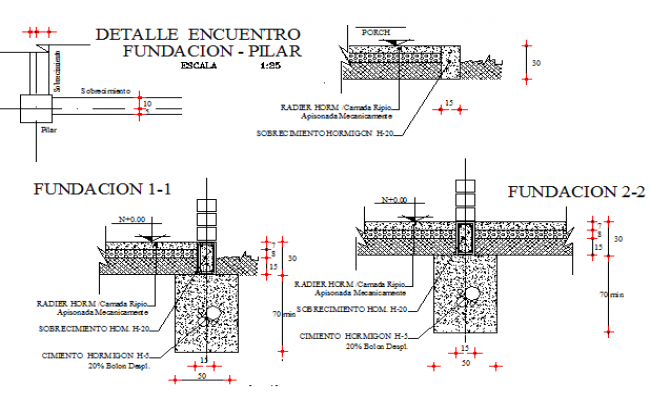 Foundation pillar details with construction of two level house dwg file