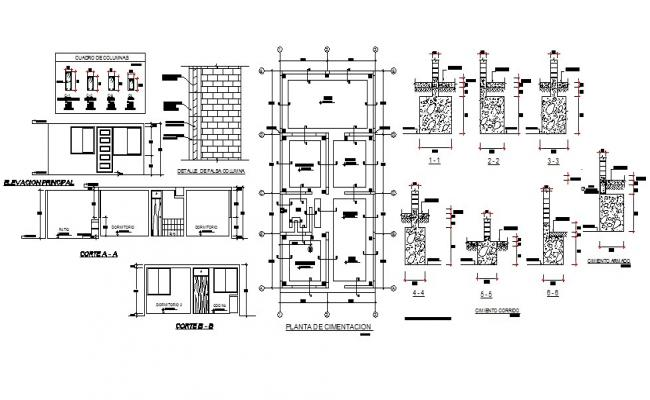 Foundation plan, section and constructive details with column of house dwg file