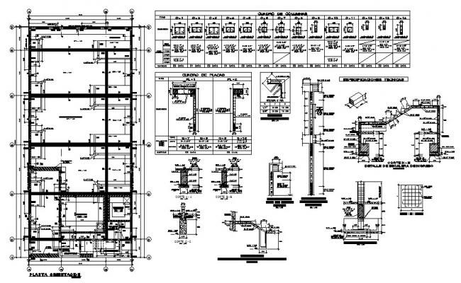 Foundation plan, staircase and construction details with