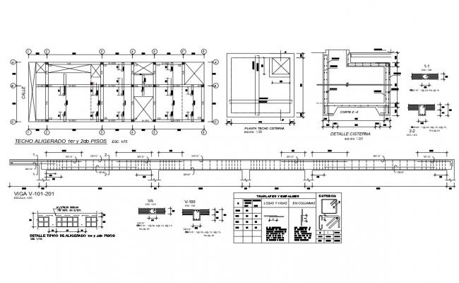 Foundation plan, water tank, doors and windows and auto-cad details