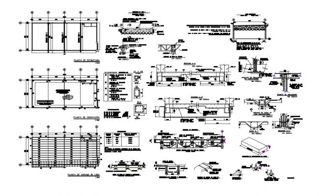 Foundation plan, beam construction and structure details of showroom dwg file