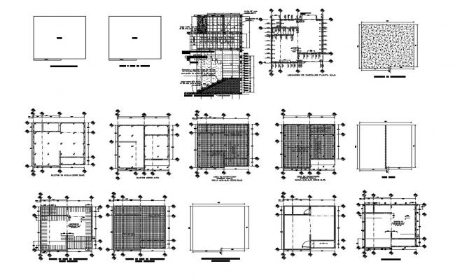 Foundation plan, cover plan, staircase and constructive structure details of building dwg file