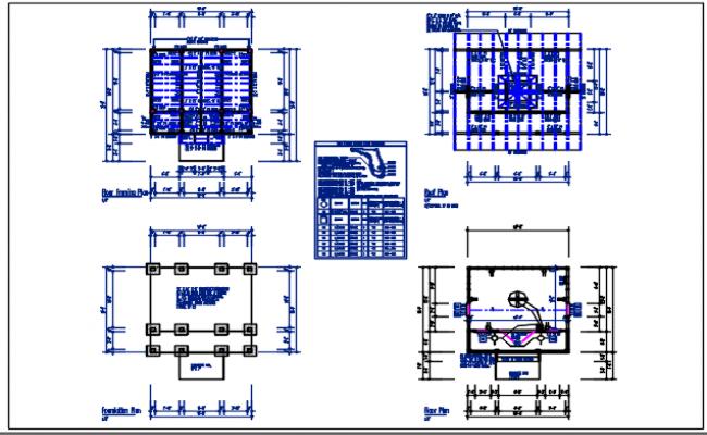 Foundation plan, roof plan, electrical plan detail dwg file