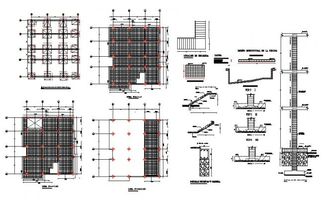 Foundation plan, staircase, beam and constructive structure details dwg file