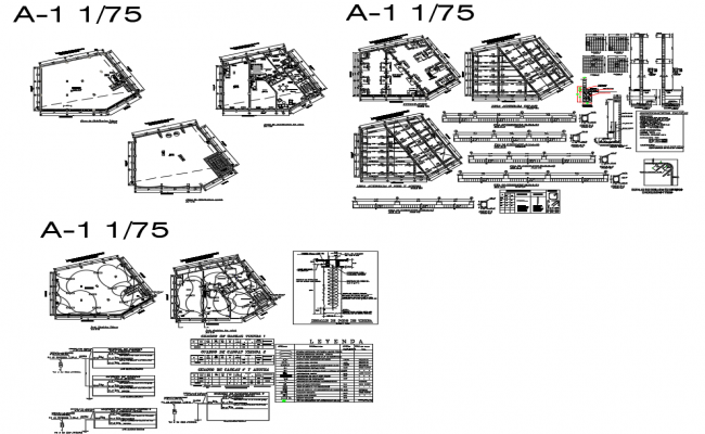 Foundation plan, staircase, beam schedule and construction details of building dwg file
