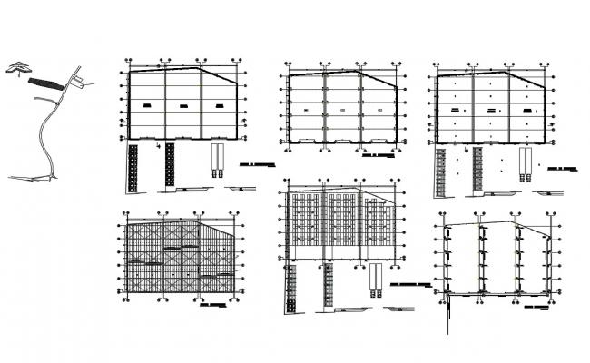 Foundation plan, structure plan and construction details of commercial complex dwg file