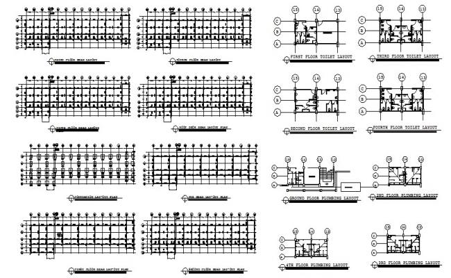 Foundation plan and beam layout plan details of all floors of school dwg file