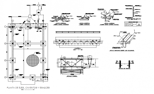 Foundation plan and construction plan detail dwg file