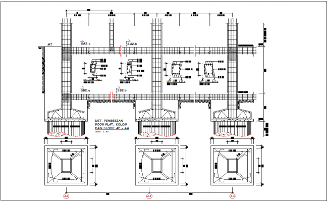 Foundation plan and elevation of column for head quarter auto cad file