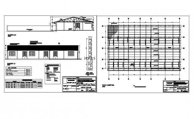 Foundation plan and roof elevation detail dwg file