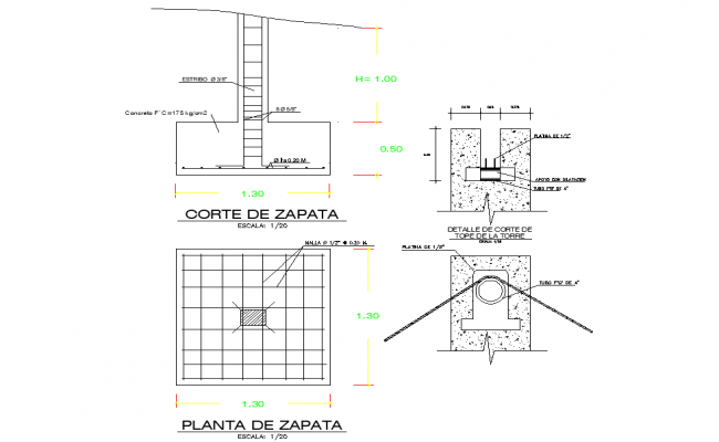 Foundation plan and section autocad file