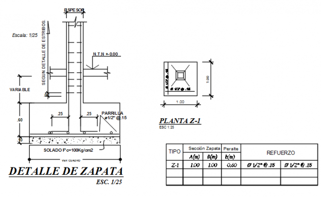 Foundation plan and section detail dwg file for Foundation plan