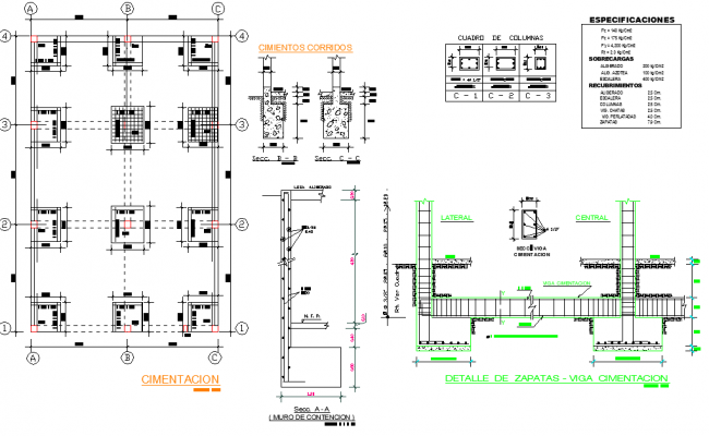 Foundation plan and section detail layout file
