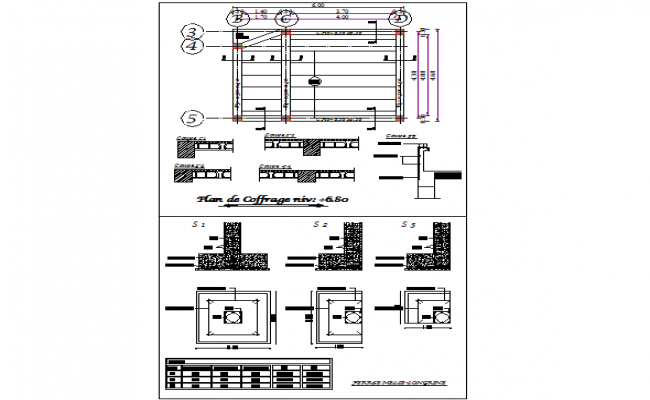 Foundation plan and section dwg file