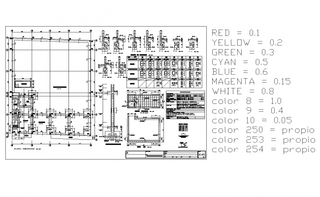 Foundation plan and section line plan detail dwg file