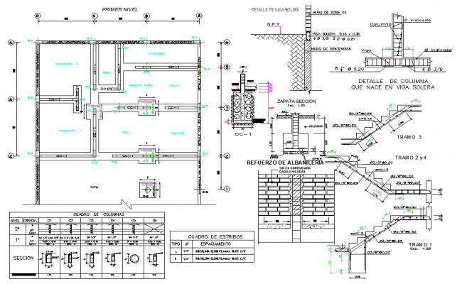 Foundation plan and section plan autocad file