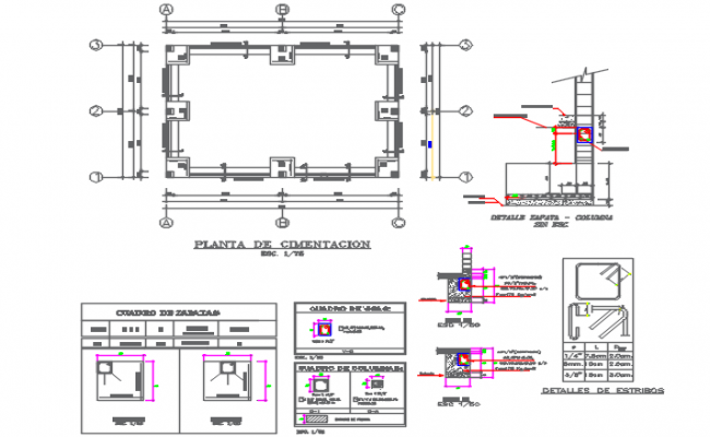 Foundation plan and section working plan detail dwg file