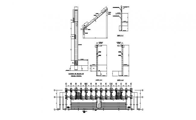 Foundation plan and staircase constructive structure details