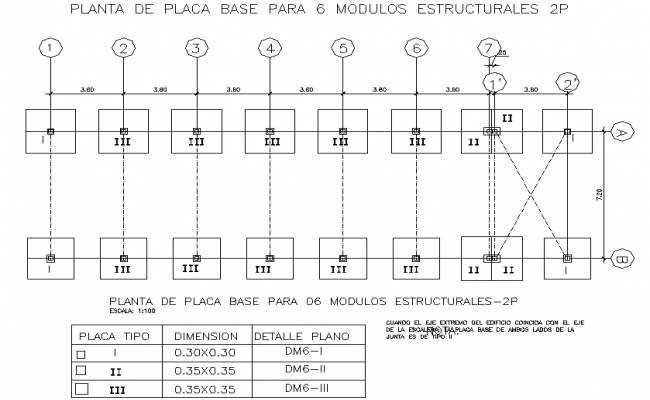 Foundation plan and table detail dwg file