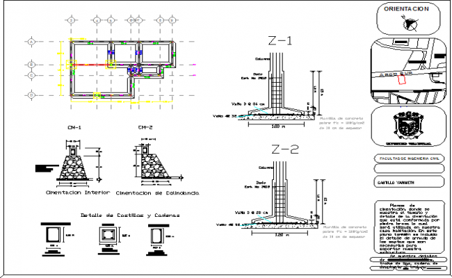 Foundation plan details of building dwg file