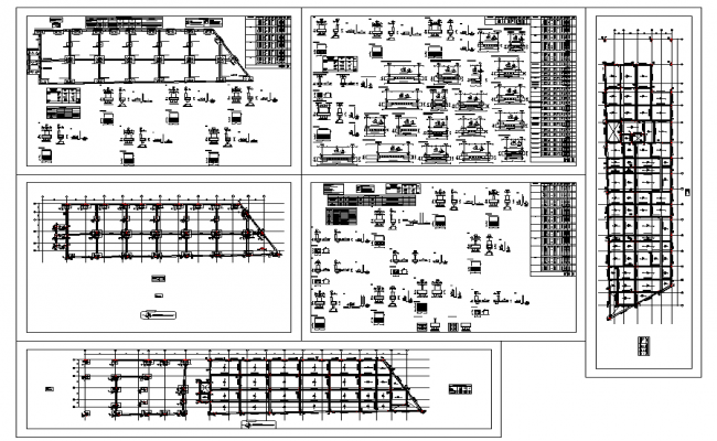 Foundation plan layout and structure member specification detail view dwg file