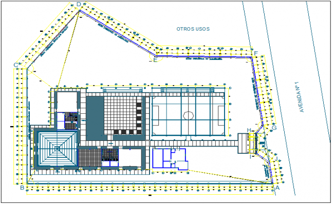 Foundation plan layout detail view dwg file