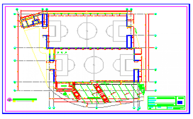Foundation plan of Football field design drawing