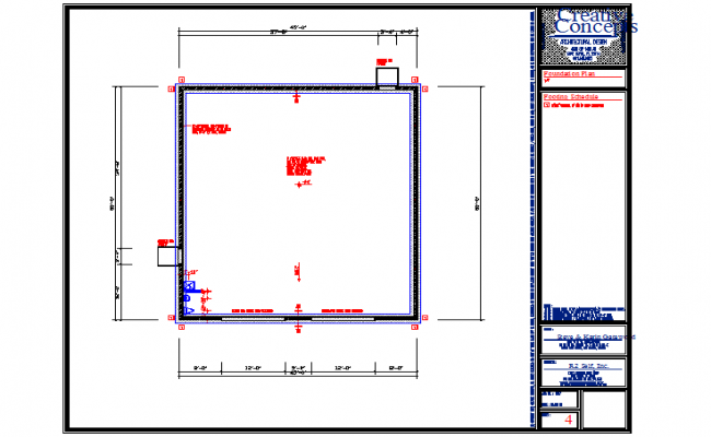 Foundation plan of a residential house