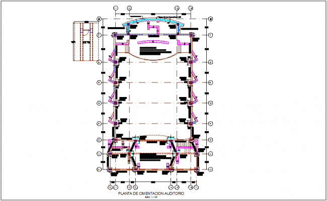 Foundation plan of auditory for integral center dwg file