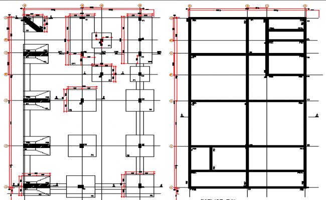 Foundation plan of ayangar work shop dwg file