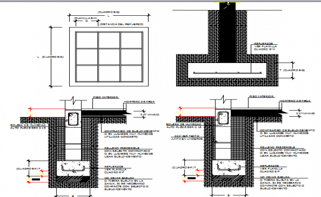 Foundation plan of building with column dwg file