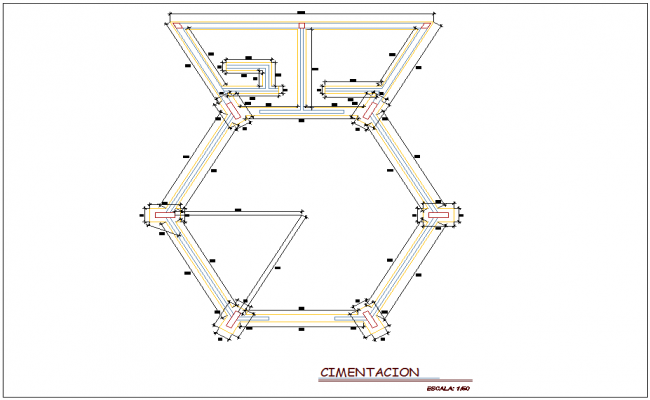 Foundation plan of corporate house with construction view  dwg file