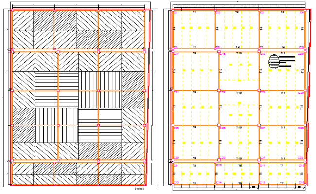 Foundation plan of corporate steel building design dwg file