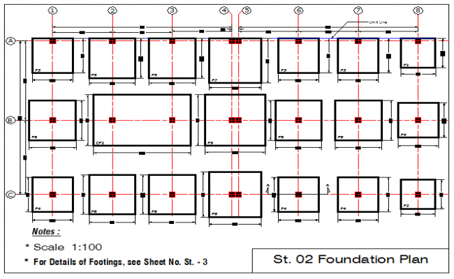 Foundation plan of footings of 12 story building dwg file