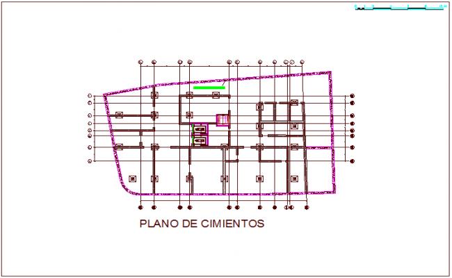 Foundation plan of hospital dwg file