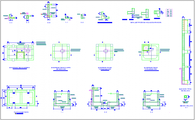 Foundation plan of tank with construction detail dwg file