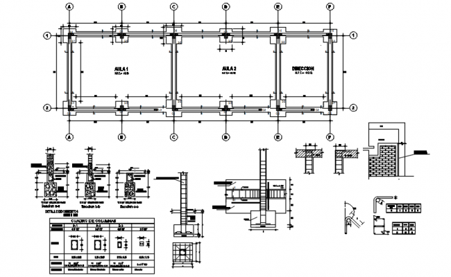 Foundation plan of the classroom in dwg file