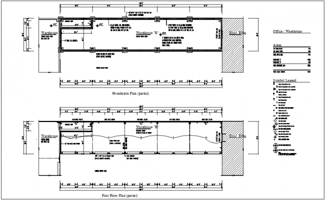 Foundation plan of ware house with floor plan dwg file