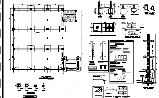 Foundation plan section detail detail dwg file,