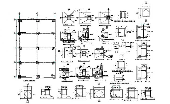 Foundation plan structure details with column dwg file