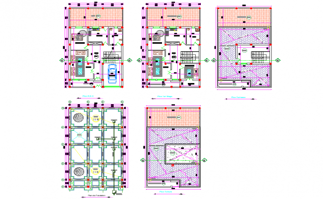 Foundation plan to roof house plan dwg file
