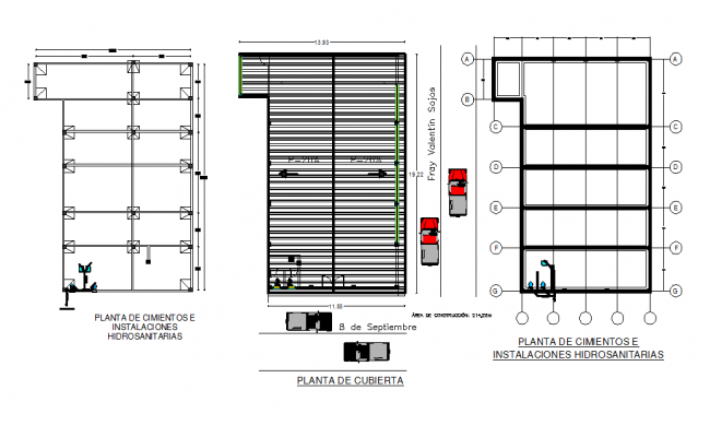 Foundation plan to roof plan working detail dwg file