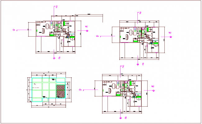 Foundation plan view of house with view of dimension dwg file