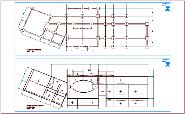 Foundation plan with beam and slab view of  university dwg file