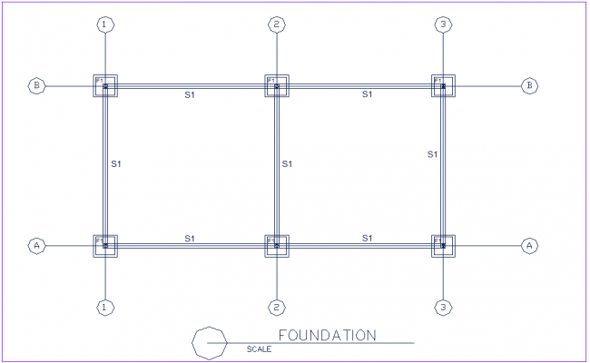Foundation plan with beam construction view for industrial plant for poultry process dwg file