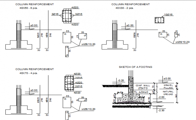 Foundation plan with column construction details dwg file