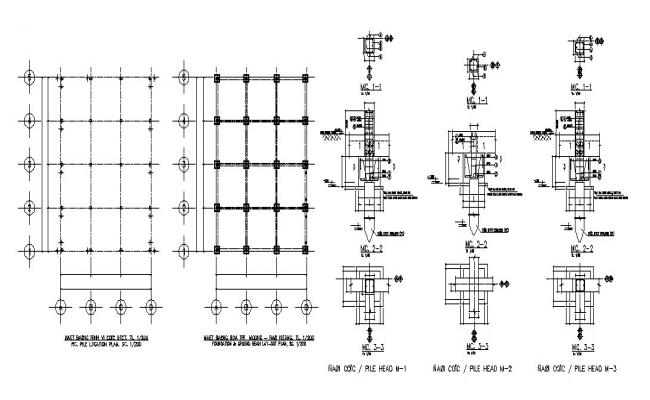 Foundation plan with column structure details of dump house dwg file