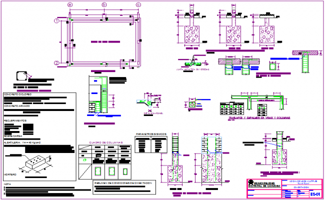 Foundation plan with construction detail for multiple use area dwg file