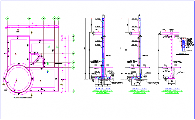 Foundation plan with construction detail for multiple use hall dwg file